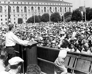 foundsf.org Harry Bridges addressing Civic Center Labor Day Rally, 1947
