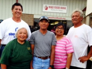 (l-r) Unit 2101 Hawaiian Commercial & Sugar Unit Chairman Sheldon Biga, Maui ILWU Pensioner Club President Louise Corpuz, Arnold Trilles, Aurora Max and Wesley Bissen.