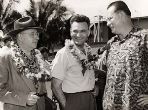 STAR-BULLETIN / 1951 Jack W. Hall, Hawaii regional director for the ILWU, right, met with West Coast union negotiators Henry Schmidt, left, and J.R. Robertson during the longshoremen's 1951 biennial convention in Honolulu. Schmidt directed the 1949 Hawaii dock strike.