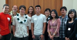 Student attendees: (Front) l-r: Kaai Conradt, Noah Kawano, Lowell Sim, and Tatiana Omokawa. (Back) l-r: Mark Bernstein, Momi Mariani, Erin Yokote, and Janelle Feliciano.