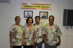 Housekeeping (l-r): Room Stylist/Inspectress Taufa Tupou, Room Stylist Mina Alamon, Houseman Arsenio Ganoy and Houseman Francis Flores.