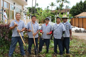 Grounds Department (l-r): Andres Alamon, Willy Melchor, Marlin Dacuycuy, Unit Secretary Michael Tactac and Vincent Gusman.