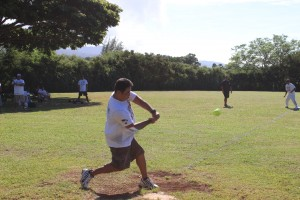 Fairmont Orchid's Joby Amaral launching the first of three (3) home runs.