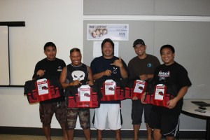 The anglers of Unit 4412 - Servco Pacific who brought their catch to the weigh-in were rewarded with prizes (l-r): Arnold Fejeder, Shaughnessy Birgado, Daven Tong, Jerry Lactaoen, and Lee Tom