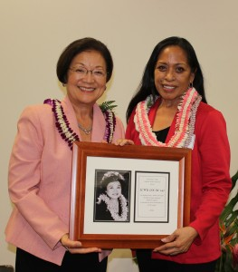 President Donna Domingo accepting an award honoring Local 142 for  presented by Senator Mazie Hirono at the Patsy T. Mink PAC fundraiser on October 14, 2015.